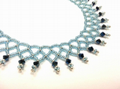 Netted Beadwork Necklace Jewellery Making Kit with SWAROVSKI® ELEMENTS Aqua